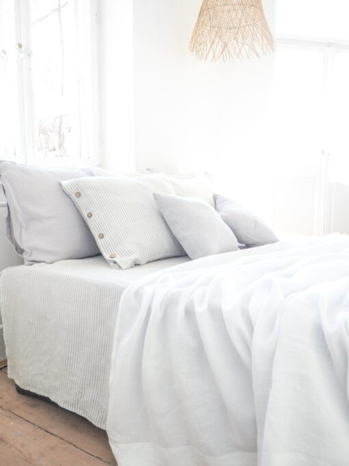 White linen coverlet