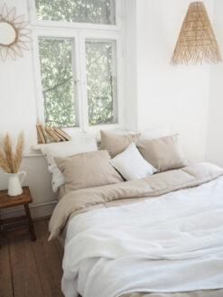 White linen coverlet