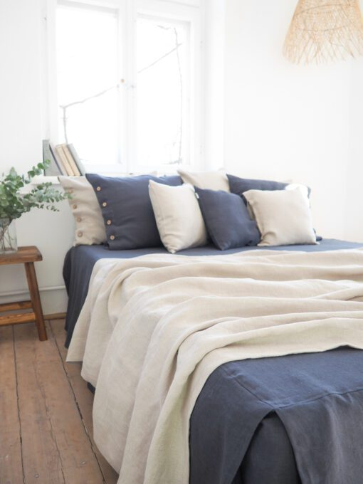 Linen throw blanket