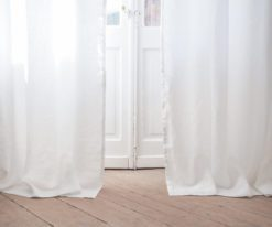 white linen curtain panel with rod pocket