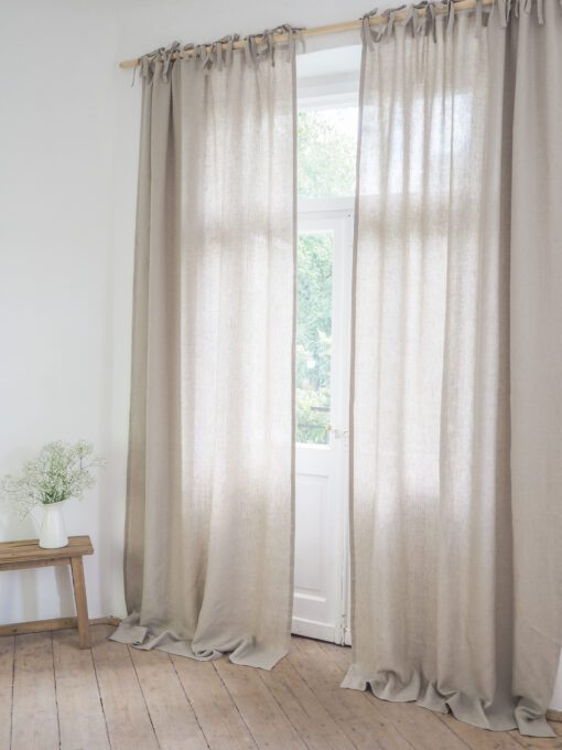 Tie top linen curtains