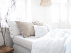 Weiße Leinen Bettbezug