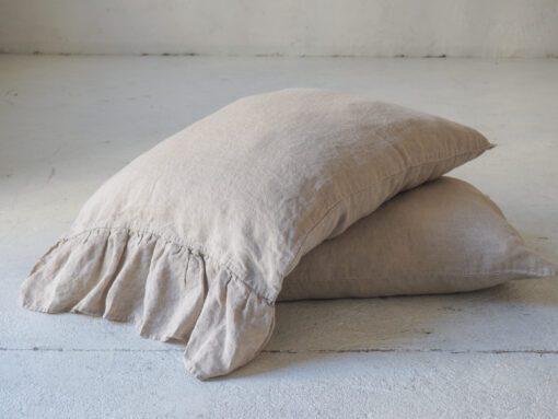 Leinen Kissenbezug mit Rüschen Stonewashed