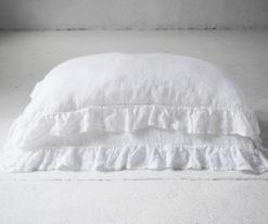 poszewka z falbaną biała lniana