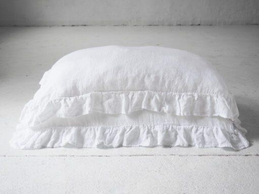 White linen ruffled pillow cases