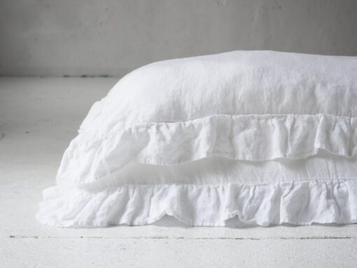 White linen ruffled pillow cases