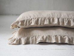 Ruffled linen pillow shams