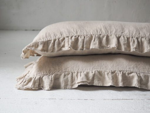 Ruffled linen pillow shams