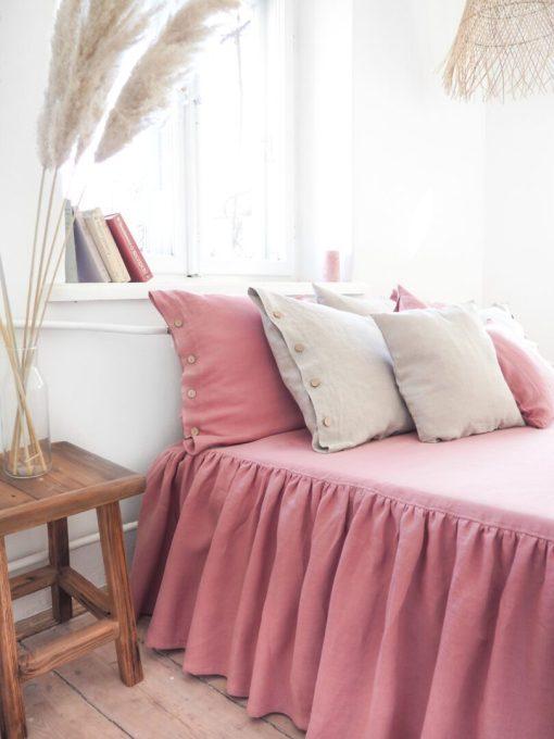 Leinen Bettdecke mit Rüschen