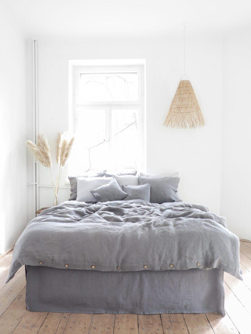 Gray Linen Bedding 100 European Stonewashed Linen
