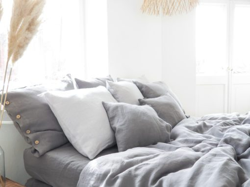 Gray linen bedding