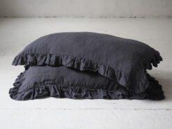 Ruffled linen pillow cases