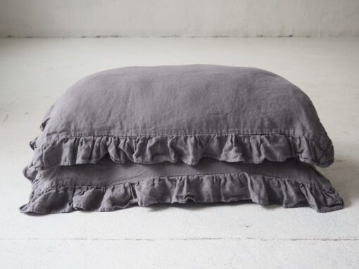 Ruffled linen pillow covers