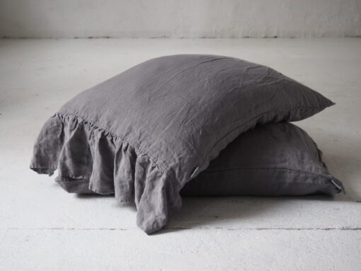 Grey ruffled linen pillow shams