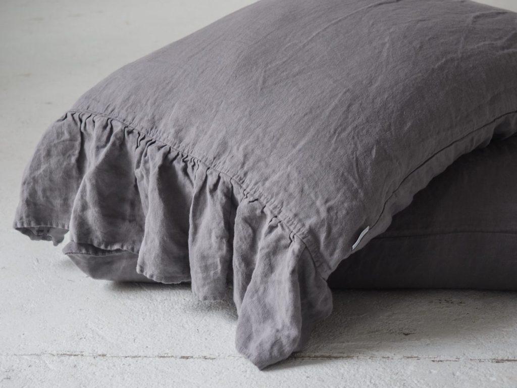 Grey Ruffled Linen Pillow Shams 100 European Stonewashed Linen