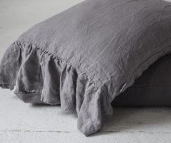 Grey ruffled linen pillow shams