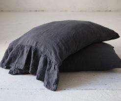 Ruffled linen pillow cases queen