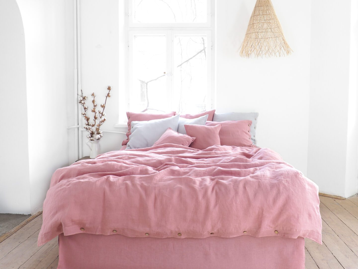 Dusty Pink Linen Bedding 100 European Stonewashed Linen