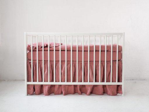 Pink linen crib skirt