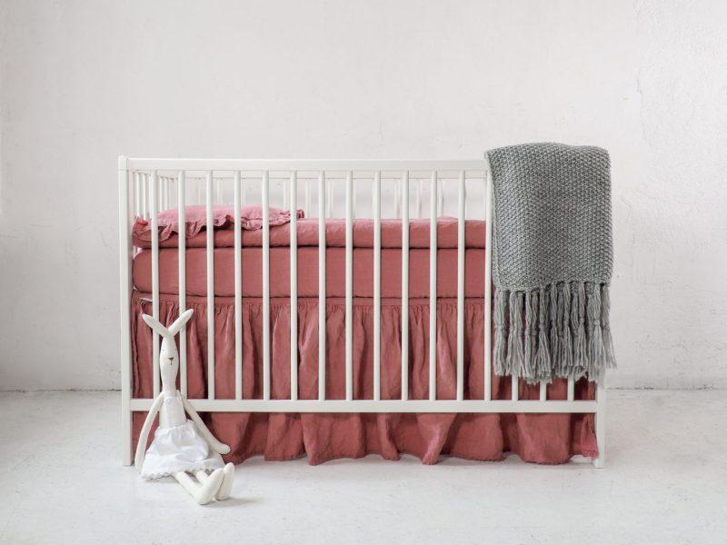 pink linen baby bedding
