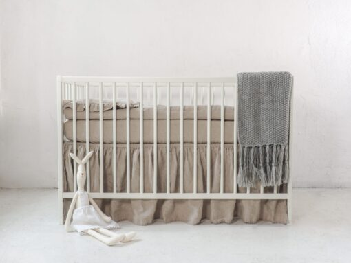 Neutral linen baby bedding