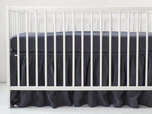 Linen crib valance