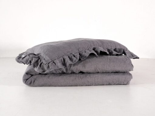 Grey linen baby bedding