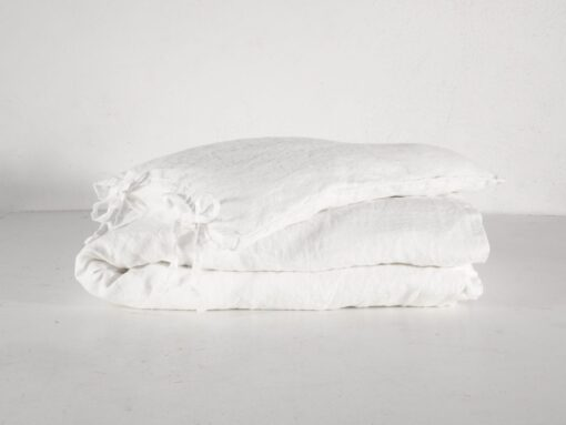 White linen crib bedding