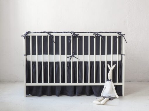 Linen crib bumper for boy