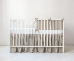 Neutral linen crib bumper