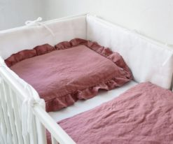 Lniana pościel do łóżeczka dla dziewczynki
