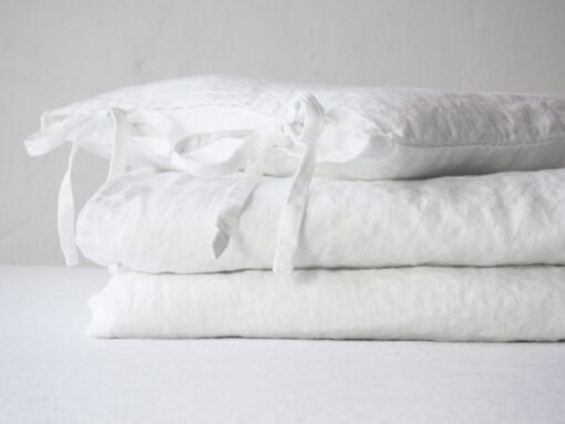 White linen crib bedding