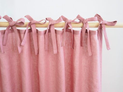 Tie top linen curtains dusty pink