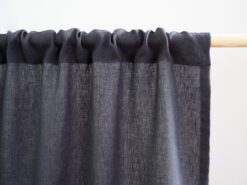 Rod pocket linen curtain charcoal