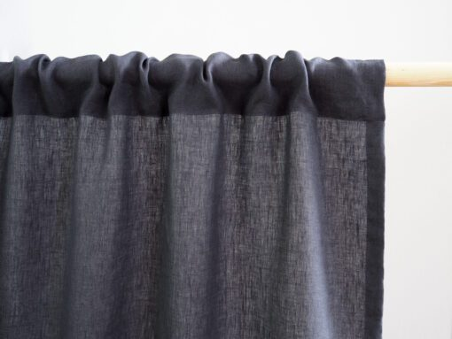 Rod pocket linen curtain charcoal