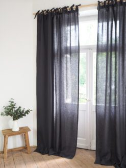Tie top linen curtains ready made