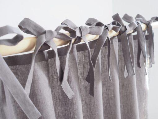 Grey tie top linen curtains