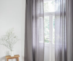 Grey tie top linen curtains