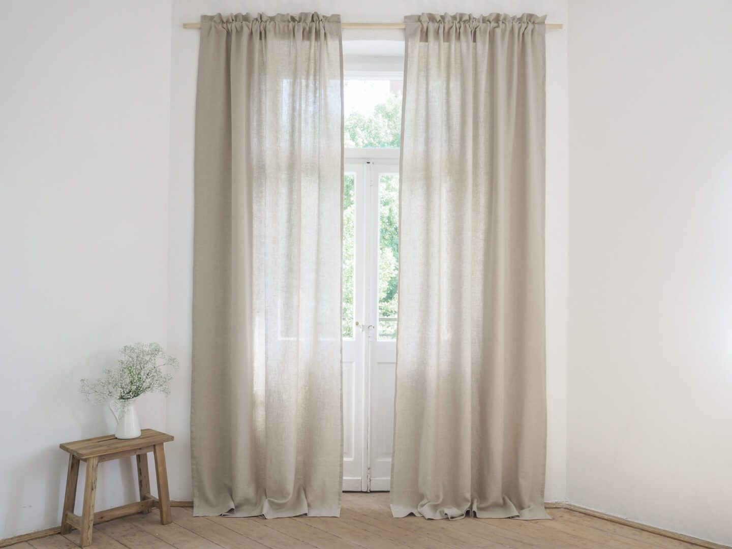 Linen Curtain Panels With Rod Pocket And Header 100 Stonewashed Linen