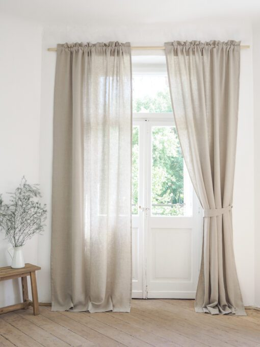 Linen curtain panels with rod pocket and header