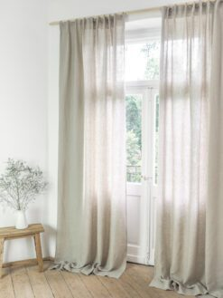 Linen curtains with gathering tape