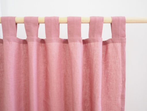 Tab top linen curtains dusty pink