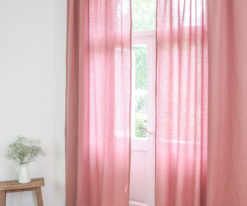 pink linen curtains with header