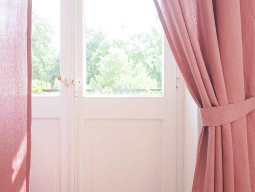 Rüschen Leinen Vorhang staubrosa