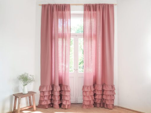 Dusty pink linen curtain with ruffles