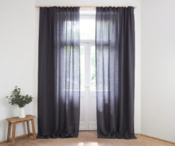 Linen curtains for living room with gathering tape