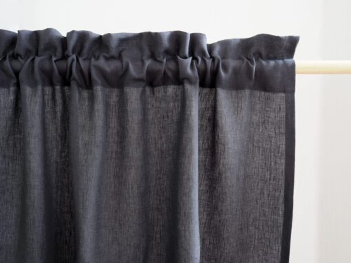 Elegant linen curtain panels with fringe