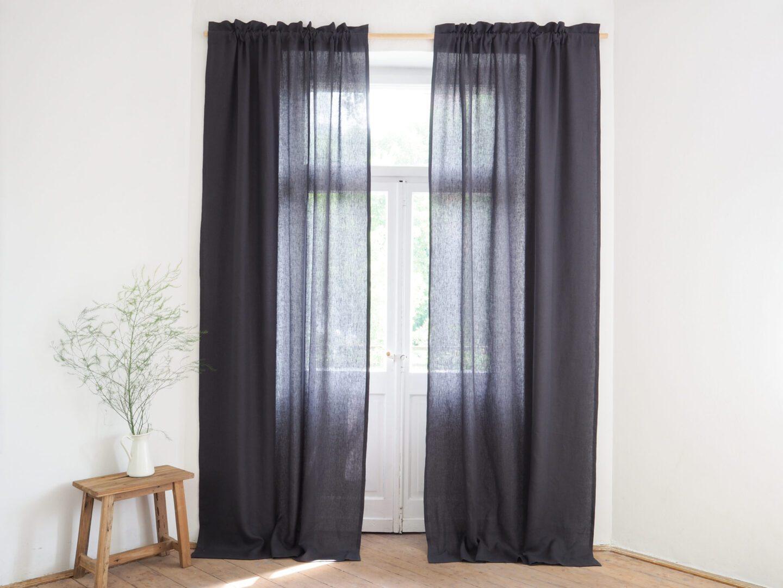Elegant Linen Curtain Panels With Fringe 100 Stonewashed Linen