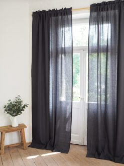Elegant linen curtain panels with fringe