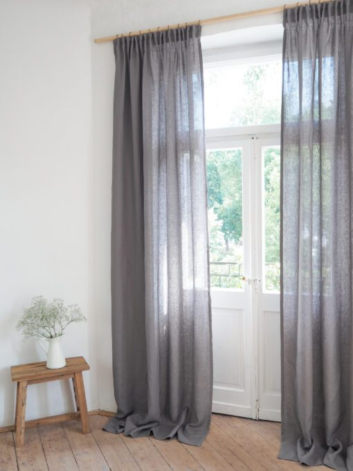 Pencil pleat linen curtains